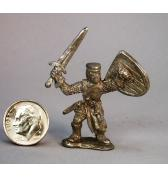 13th C Knight with raised Shield and sword pewter